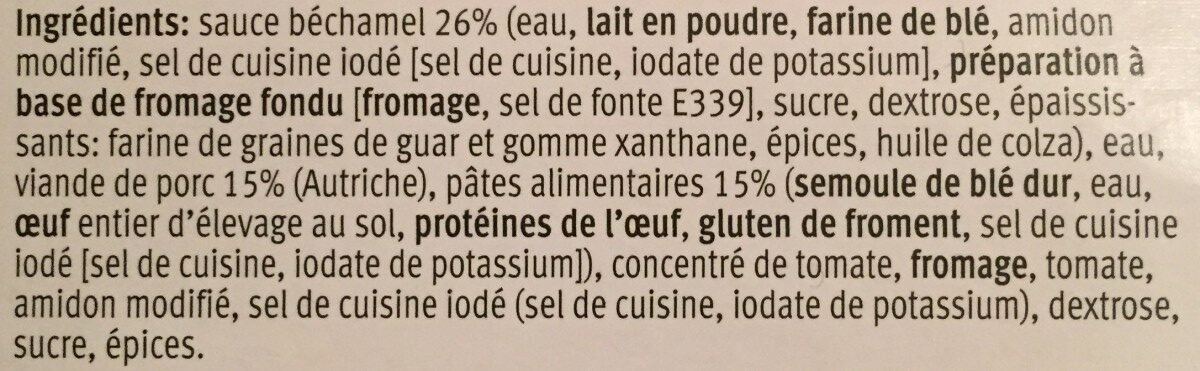 Lasagne alla bolognese - Ingredienti - fr