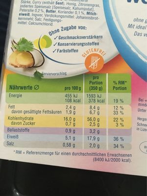 Thai Green Curry Weight Watchers - Informations nutritionnelles - fr