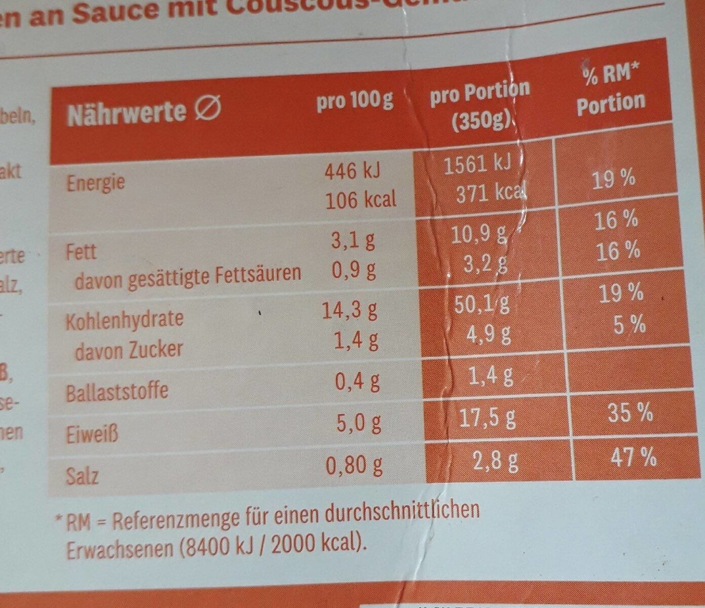 Boulettes de viande à la sauce méditerranéenne et couscous - Informations nutritionnelles - fr