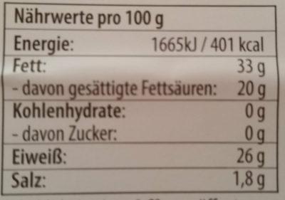 Irischer Cheddar - Nutrition facts