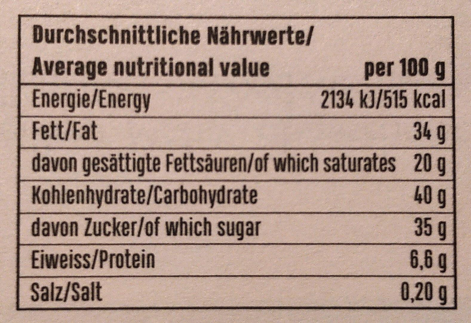 Weißer Mohn mit Zimt und Marillenbrand - Nutrition facts