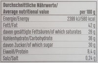 Dunkle Schokolade - Nutrition facts - de