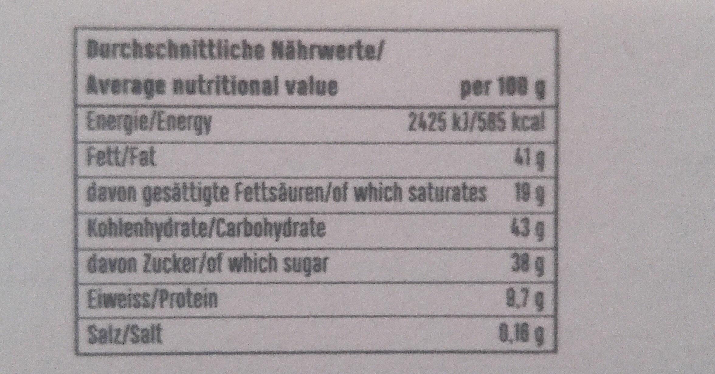 Hanfpraline - Voedingswaarden - de