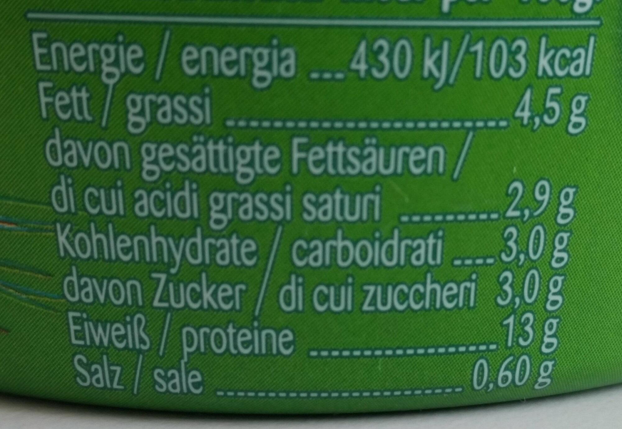 Landfrischkäse Schnittlauch - Informations nutritionnelles