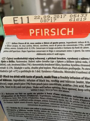IceTea Pfirsich - Inhaltsstoffe