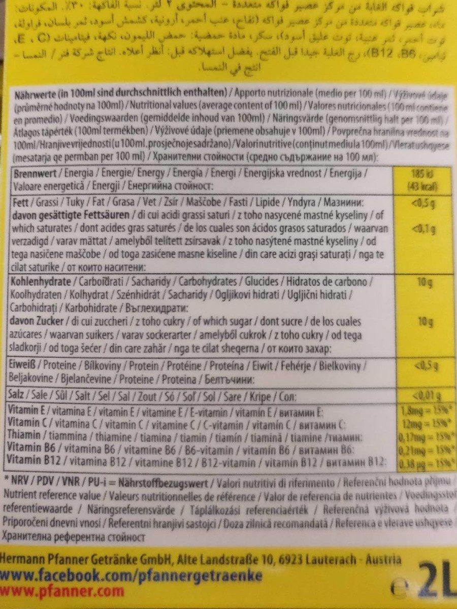 Forest Fruits Drink 30% Bce 2l Tetra Pak Pfanner - Voedingswaarden - fr