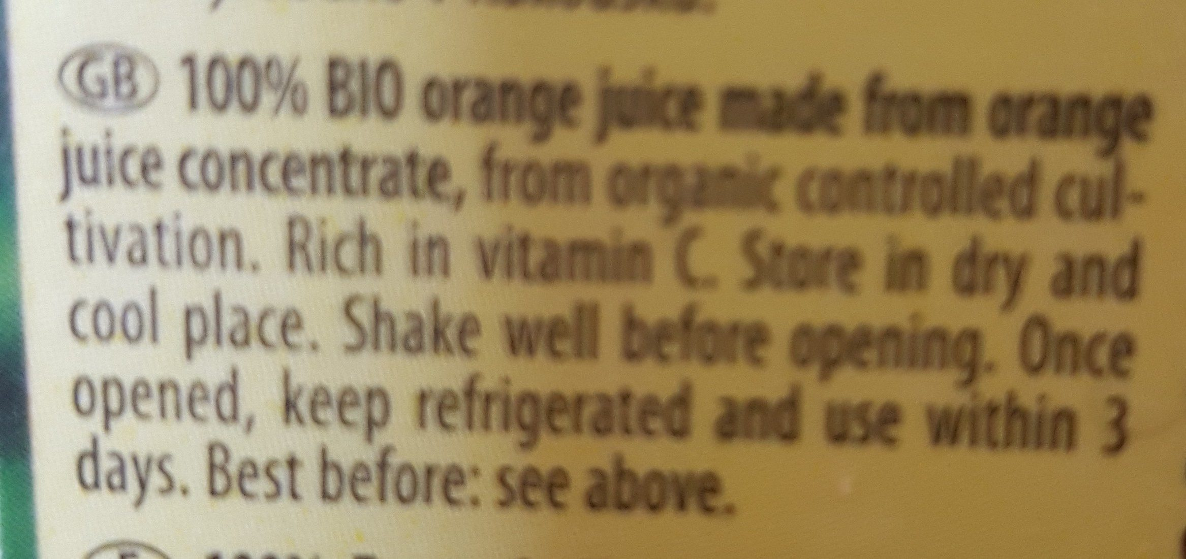 Pfanner Bio Orange 100% 1LTR - Ingredients - fr