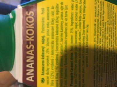Ananas Und Kokos Getränk 25% 1 l Elopak Pfanner - Ingredientes - fr