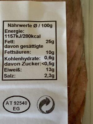 RADATZ Wiener - Nutrition facts - de