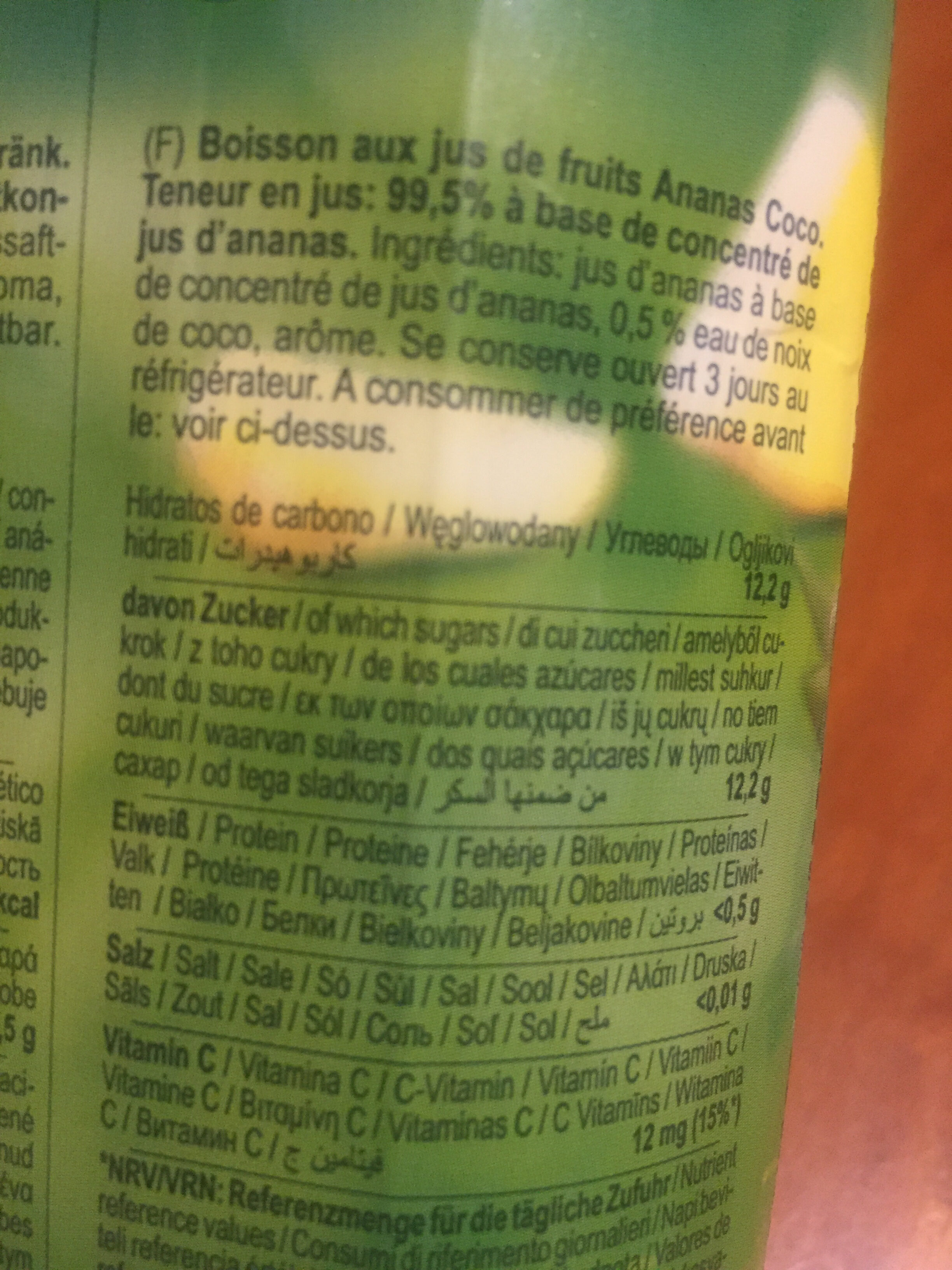 Happy day Coco Ananas - Informations nutritionnelles