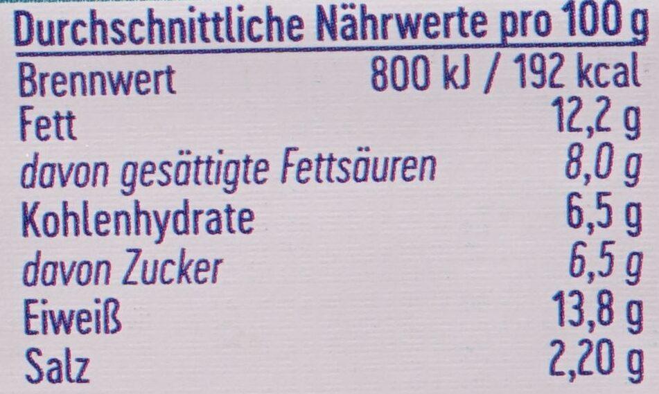 Holländer Art Schmelzkäse Zubereitung - 营养成分 - de
