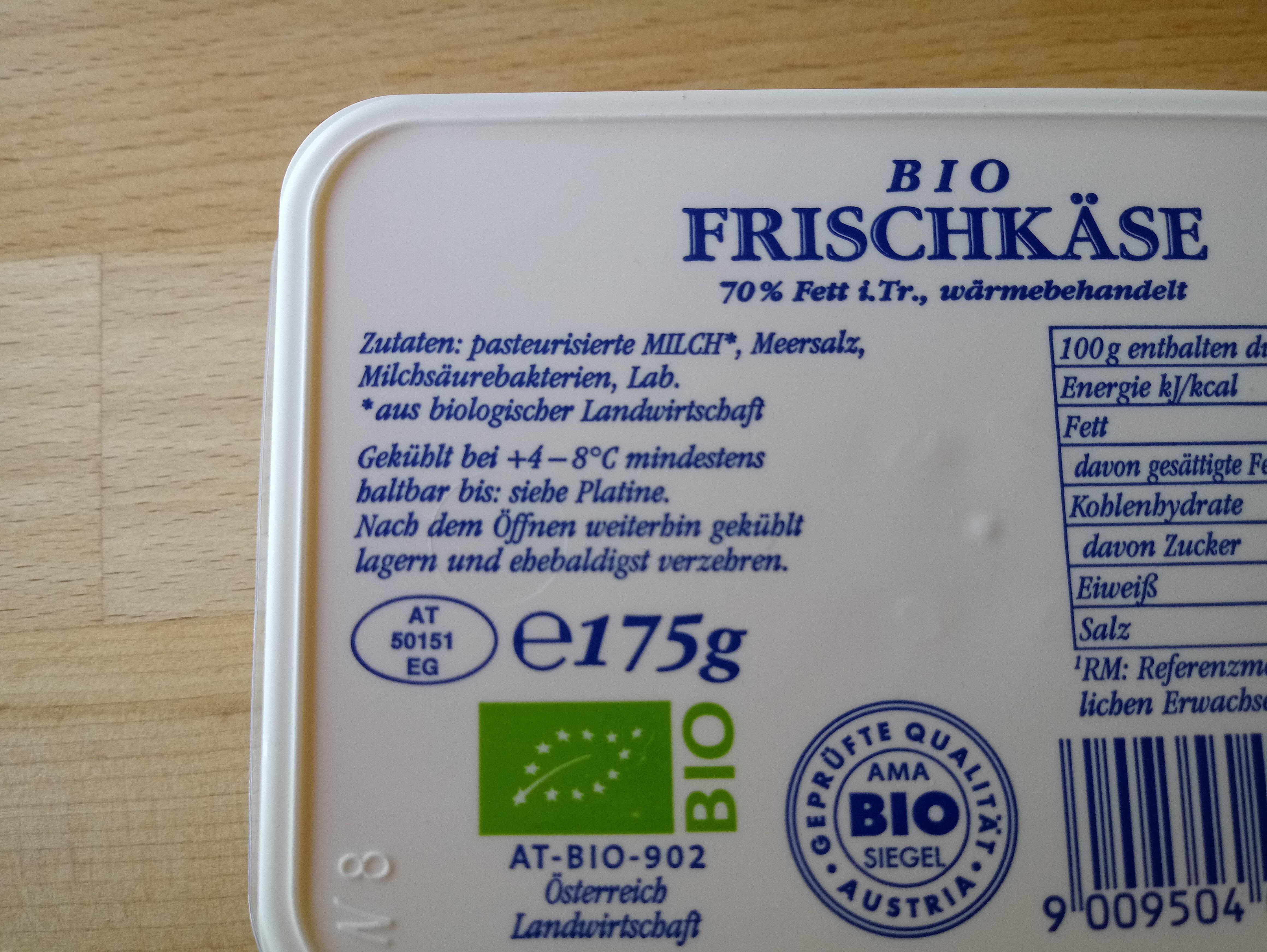 Frischkäse bio - Ingrédients - de