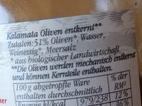 Oliven Kalamata entkernt - Ingrédients - de