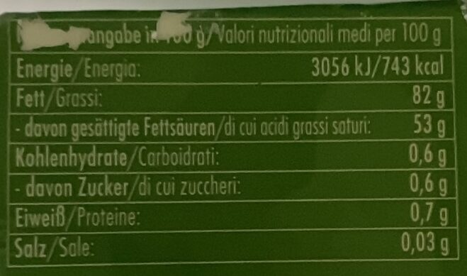 Bio Sauerrahmbutter - Nutrition facts - de