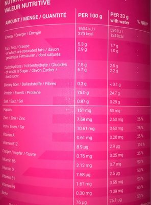 Whey protein - Informations nutritionnelles - fr
