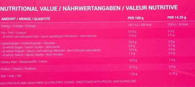 Protein cookies - Informations nutritionnelles - fr