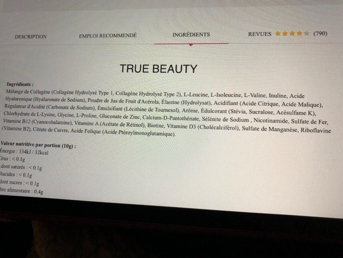 True Beauty - Inhaltsstoffe