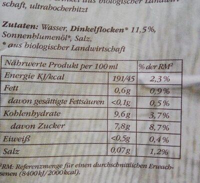 Bio Dinkel Drink - Informations nutritionnelles - fr