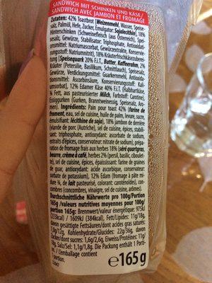 Sandwich Schinken - Ingrédients