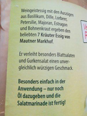 7 kräuter essig - Ingredients