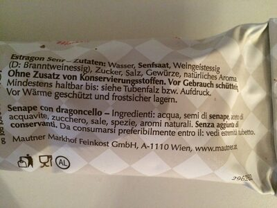 Mautner original Estragon Senf - Ingredients