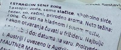 Mautner original Estragon Senf - Sastojci - sr