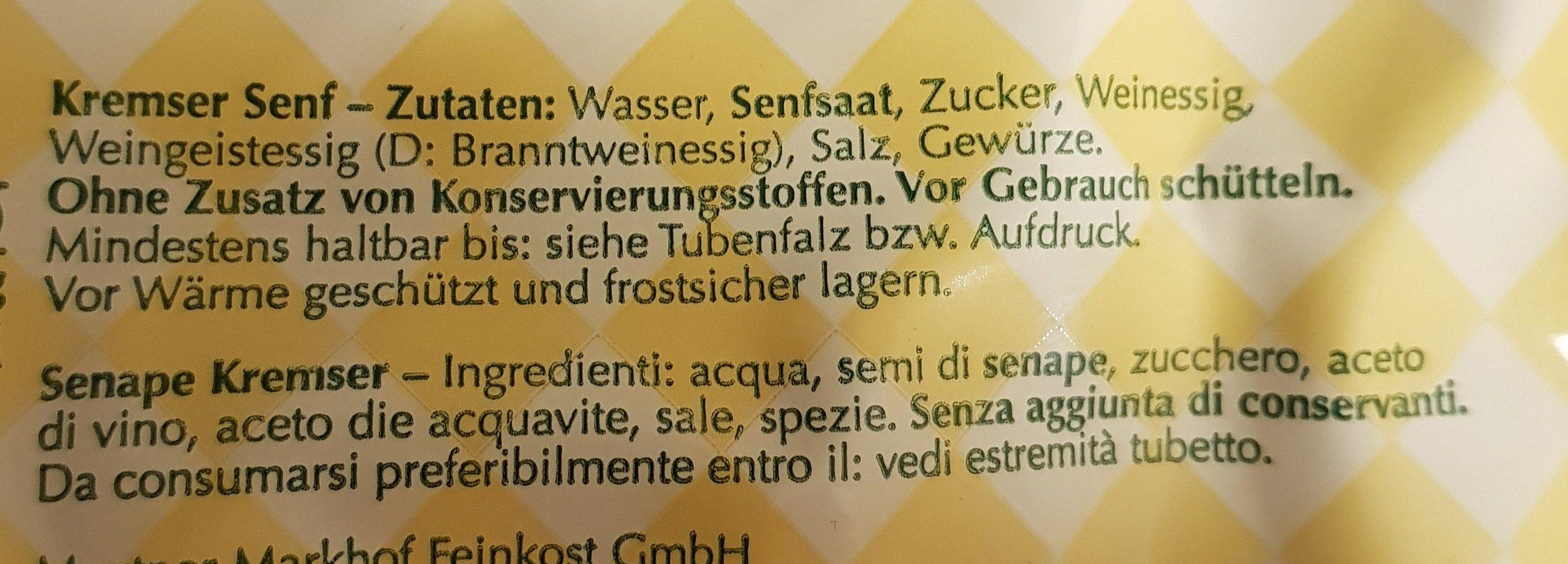 Kremser senf - Ingredients - de