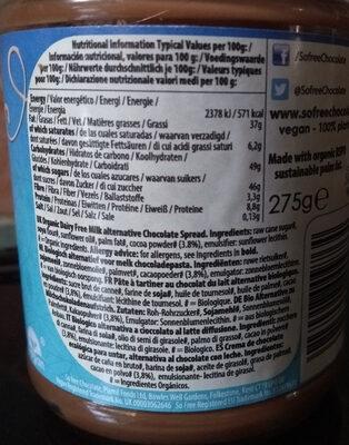 So Free Organic Dairy Free Milk Alternative Chocolate Spread - Ingrédients - en