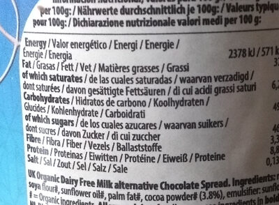 So Free Organic Dairy Free Milk Alternative Chocolate Spread - Informations nutritionnelles - en