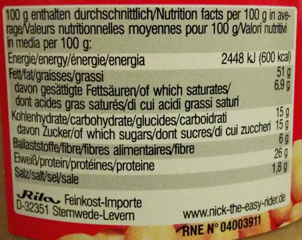 Peanutbutter Crunchy - Nutrition facts - de