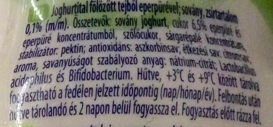 sovány epres joghurtital - Ingrédients