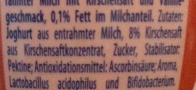 Joghurt Drink Kirsche-Vanille - Ingredients - de