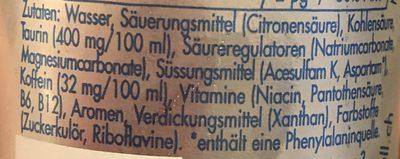 Redbull : Sugarfree - Ingredients