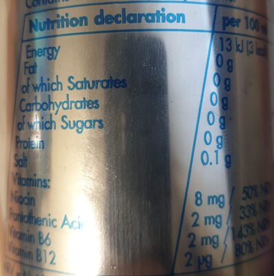 Sugar Free Energy Drink - Nutrition facts - en