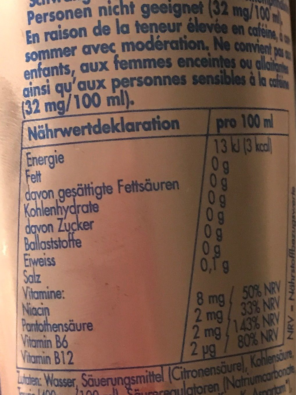Red Bull sugar free - Informations nutritionnelles