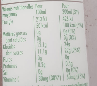 Tropicana essentiels antioxydant - Nutrition facts - fr