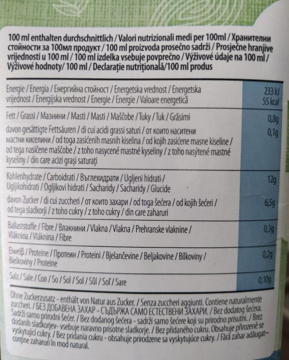 Rice milk Joya bio - Información nutricional - es