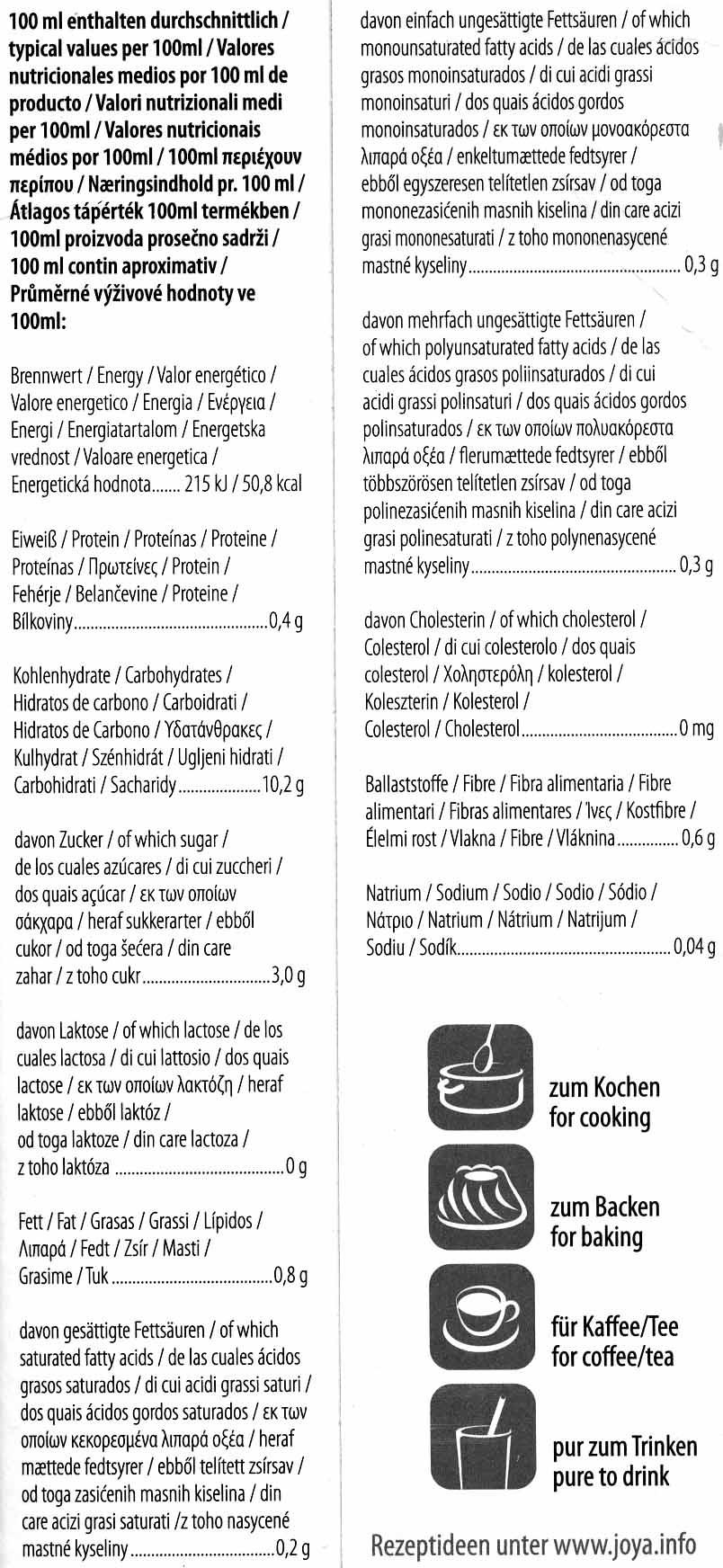 "Bebida de arroz ecológica ""Joya"" - Informations nutritionnelles"