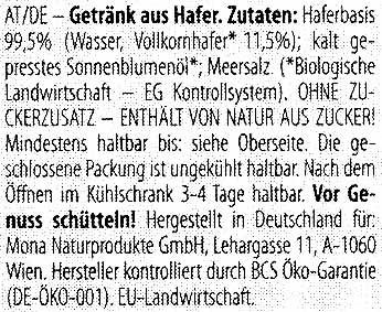 Vollkorn Hafer - Ingredients