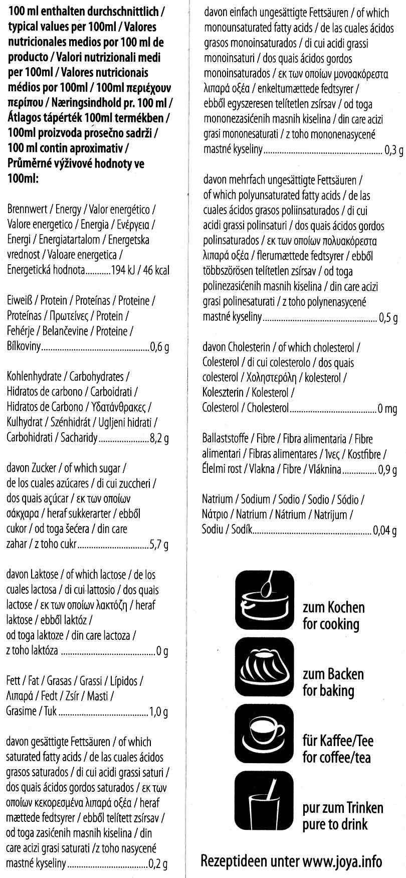 Vollkorn Hafer - Informations nutritionnelles - de