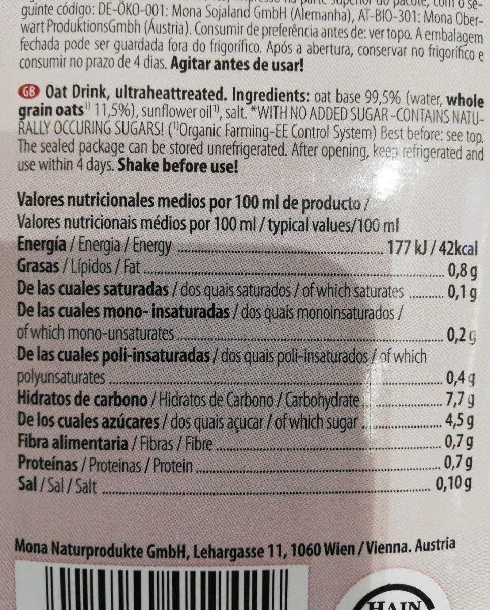 Lait d'avoine - Informations nutritionnelles