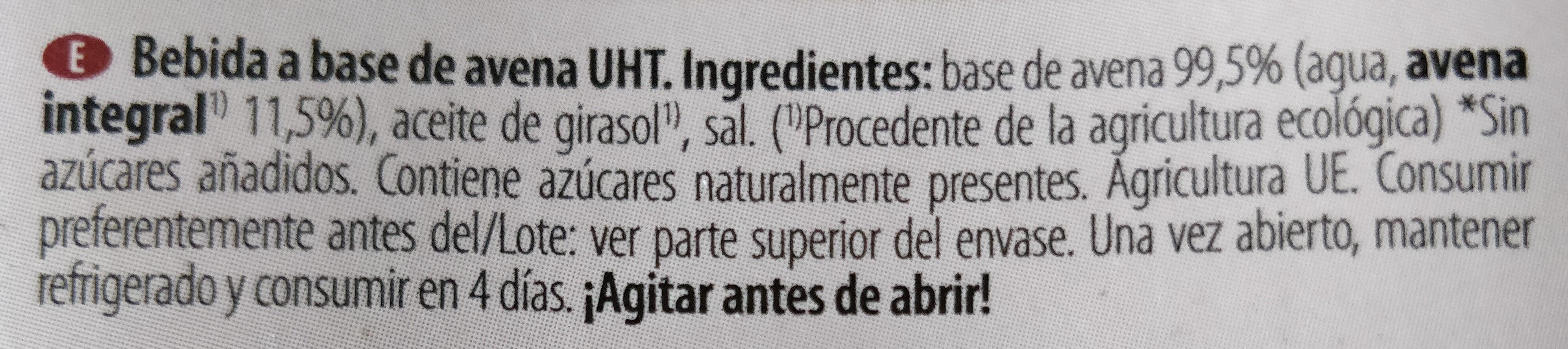 Bebida de avena - Ingrédients - es