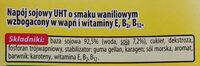 Napój sojowy UHT o smaku waniliowym wzbogacony w wapń i witaminy E, B, B12. - Składniki - pl