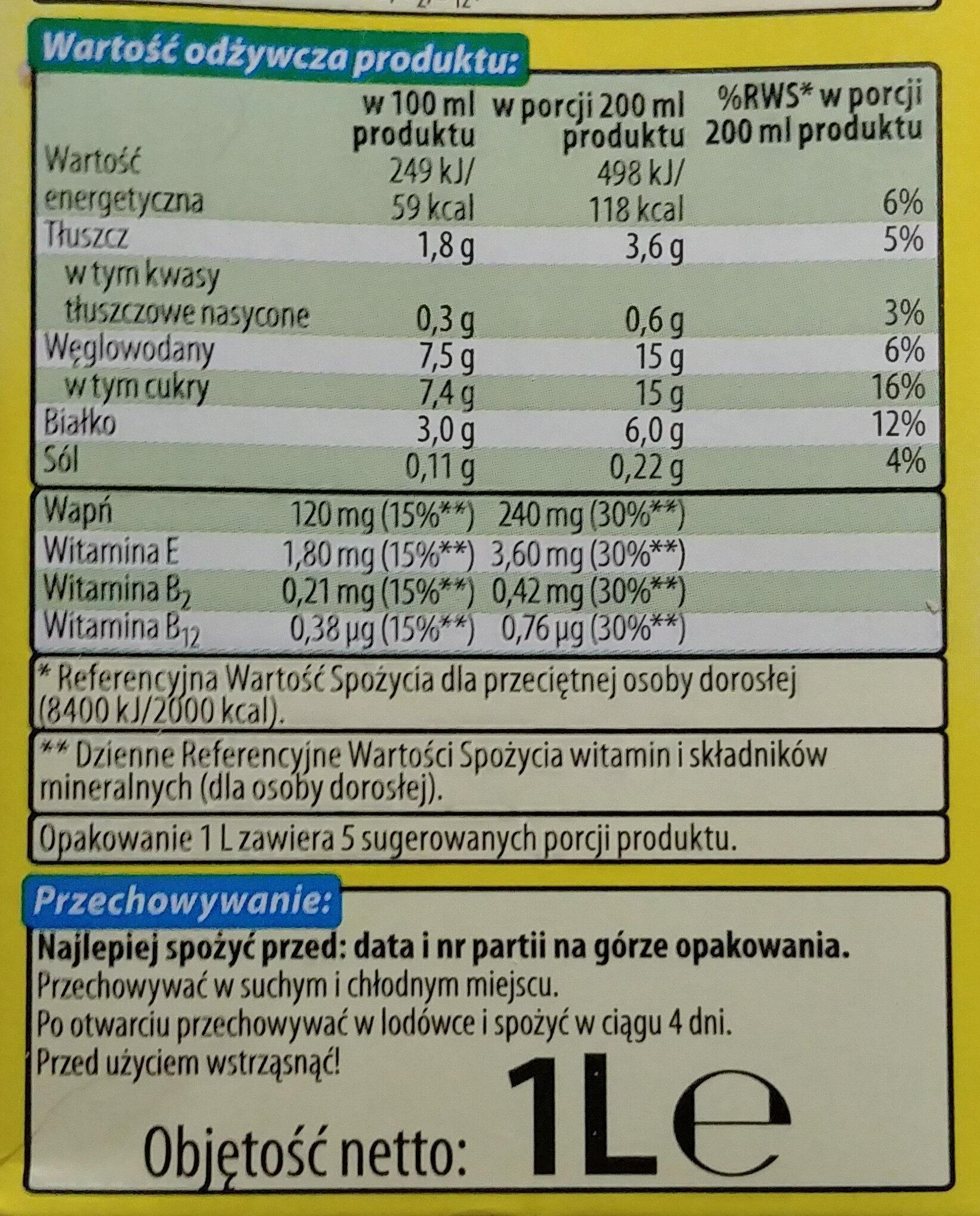 Napój sojowy UHT o smaku waniliowym wzbogacony w wapń i witaminy E, B, B12. - Wartości odżywcze - pl