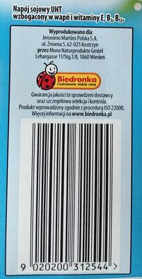 Napój sojowy klasyczny - Wartości odżywcze