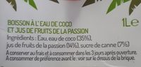 Eau de coco + fruits de la passion - Ingrédients - fr