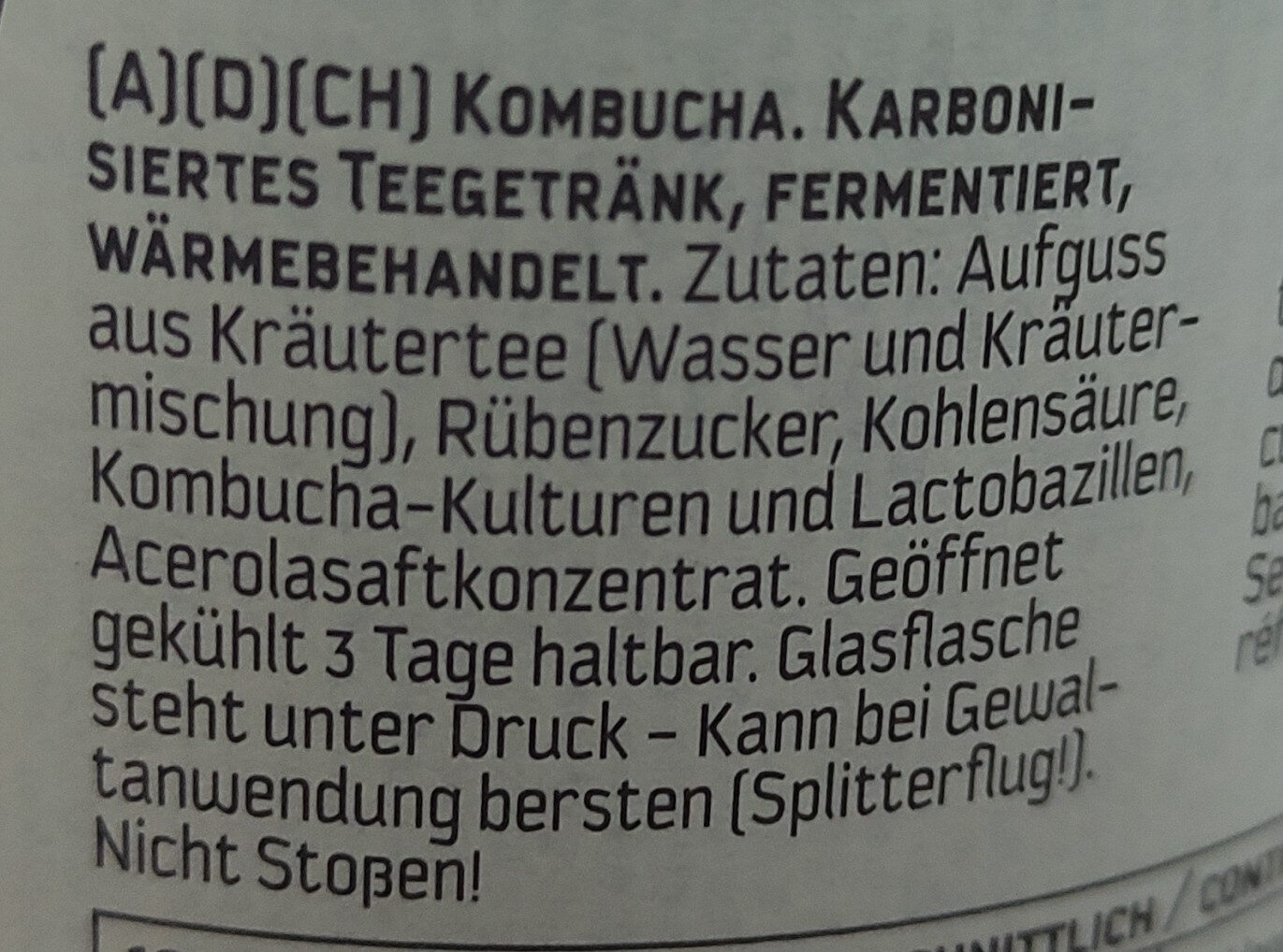 Carpe Diem - Fresh Kombucha Classic - Ingredients - de