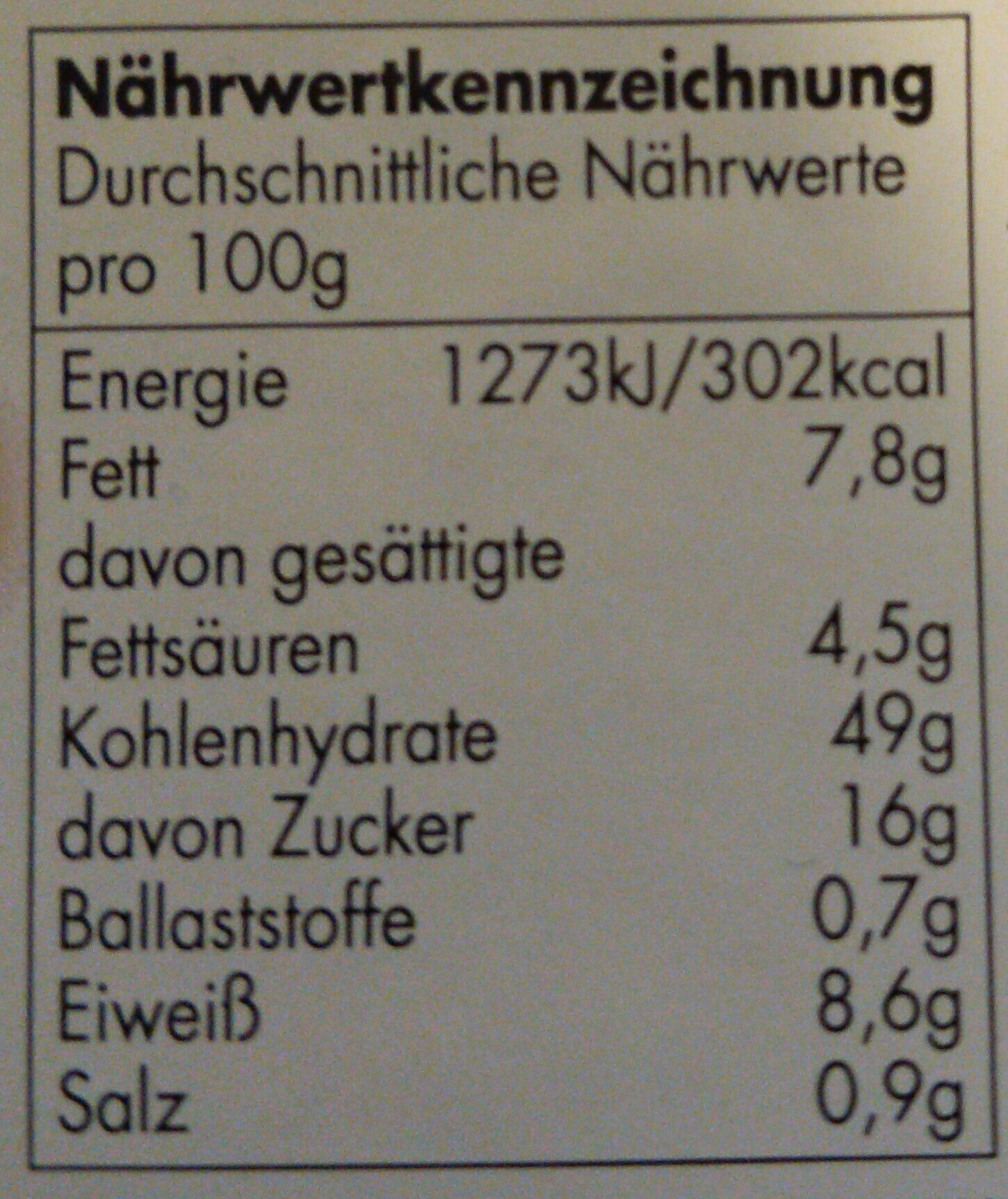 Kaffeekuchen - Nutrition facts