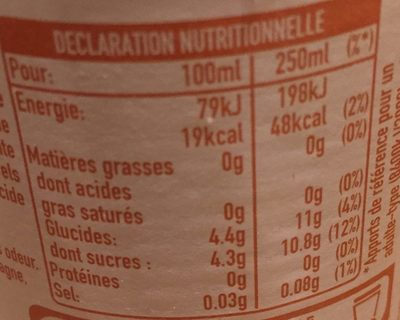 Thé Glacé Pêche Intense - Nutrition facts