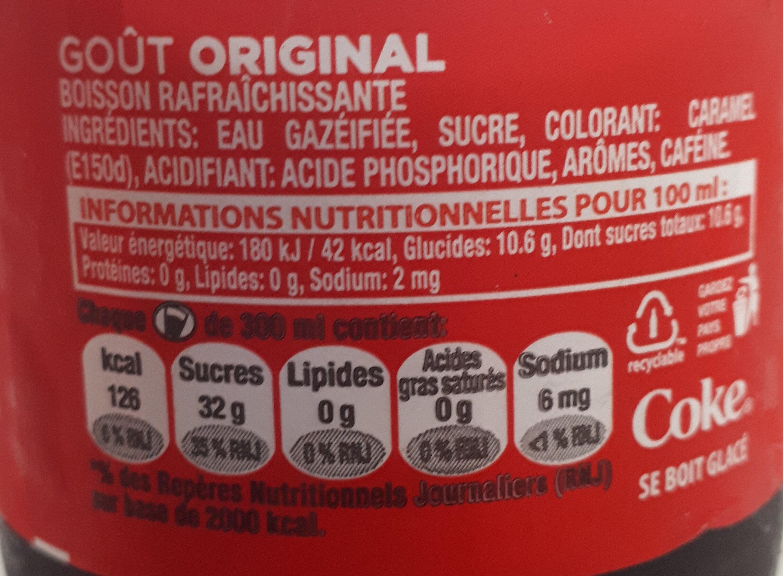 coca cola 300 ml - Informations nutritionnelles - fr